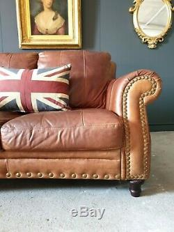108. Chesterfield Tan Brown Leather Vintage 2 Seater Sofa & Pouffe DELIVERY AV