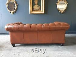 16. LAURA ASHLEY Leather Vintage 2 Seater Club Tan Brown Sofa DELIVERY AV