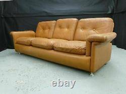 1970s Cognac Tan Leather 3-Seater Sofa Danish Vintage Retro Settee Mid-Century