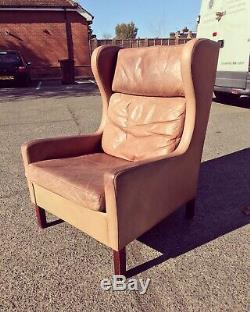 1970s Danish Mogens Hansen Vintage Tan Leather Armchair