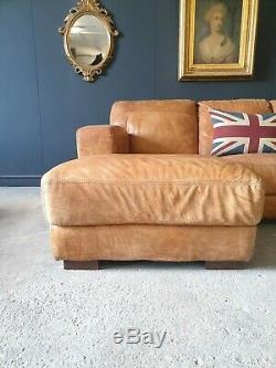 1. Superb Leather Vintage tan 3 Seater Corner Sofa Delivery Available