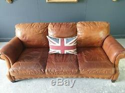 221. Chesterfield Leather Vintage 3 Seater Club Tan Brown Sofa DELIVERY AV