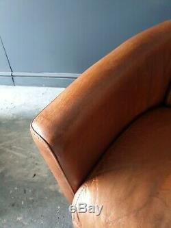 23. SUPERB! HALO AVIATOR Tan Brown Leather Vintage 2 Seater & Chair DELIVERY