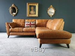 26. Vintage Tan 4 Seater Leather Club Corner Sofa DELIVERY AVAILABLE