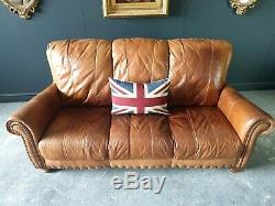 27. Chesterfield Leather Vintage 3 Seater Club Tan Brown Sofa DELIVERY AV