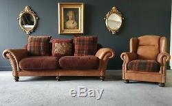 28. John Lewis Tetrad Leather & Fabric 3 Seater & Armchair Sofa Tan RRP £3000