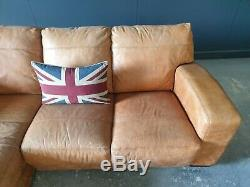 2. Superb Leather Vintage tan 3 Seater Corner Sofa Delivery Available