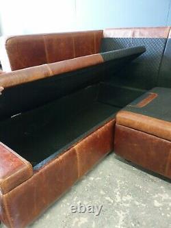 313. Halo Vintage Tan Leather Corner Sofa 3 Seater Storage