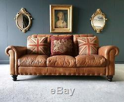 31. Chesterfield Leather Vintage 3 Seater Club Tan Brown Sofa DELIVERY AV