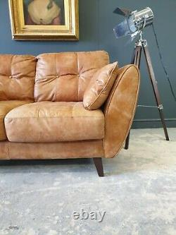 325. Superb MID Century Style 2 Seater Vintage Tan Leather Sofa