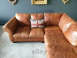 37. Vintage Tan 3 Seater Leather Club Corner Sofa & Pouffe DELIVERY AVAIL