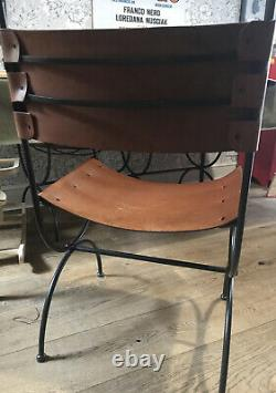 4 X Retro Real Tan Leather & Cast Iron Dining Room Chairs John Lewis Designer