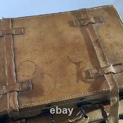 4 X Vintage Giovanni Tan Real Leather Graduated Suitcases Luggage Travel Display