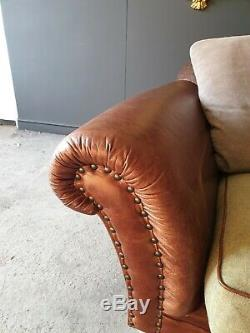 5001. 1 Year Old Tetrad Leather & Fabric 3 Seater Sofa Tan Brown RRP £2500