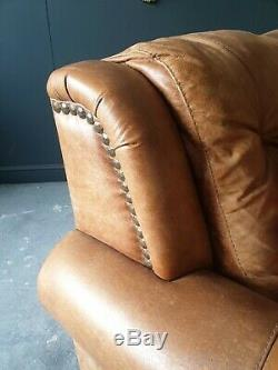 601. Superb Vintage Tan Leather Chesterfield 6 Seater Corner Sofa