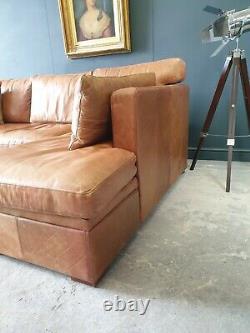 603. Halo Vintage Tan Leather Corner Sofa 3 Seater Storage