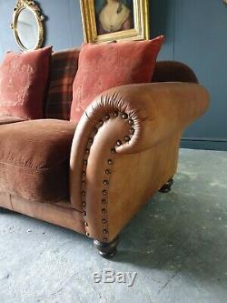 7001. Tetrad Leather & Fabric 3 Seater Sofa Tan Brown RRP £2500