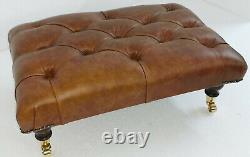70cm x 46cm Rectangular Chesterfield Footstool Table 100% Vintage Tan Leather
