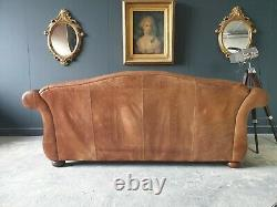 712. LAURA ASHLEY PENHURST Vintage 2 Seater Club tan Leather Sofa RRP £2500