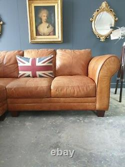 716. Vintage Tan 4 Seater Leather Club Corner Sofa & Puff DELIVERY AVAIL