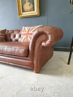 803. Large Vintage Tan Leather Three Seater Chesterfield Sofa
