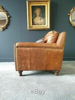 806. Barker & Stonehouse Chesterfield Tan Brown Leather Vintage Armchair