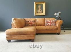 807. Superb Vintage Tan Leather Corner Sofa 3 Seater Delivery