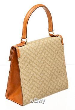 82-1 Celine Vintage Tan Coated Canvas Leather Flip-Lock Satchel