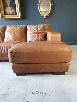 88. Vintage Tan Seater Leather Club Corner Sofa DELIVERY AVAILABLE