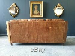 903. Chesterfield Leather Vintage 3 Seater Club Tan Brown Sofa DELIVERY AV