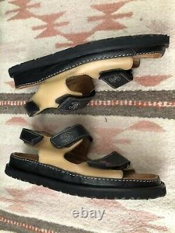 90s Chanel Vintage Dad Leather Sandals- Tan Black