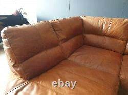 910. Vintage Tan 4 Seater Leather Club Corner Sofa DELIVERY AVAILABLE
