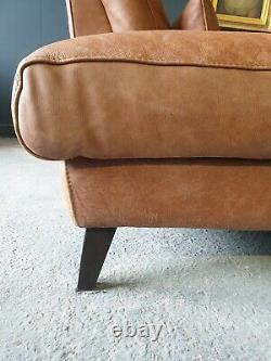 911. Vintage Tan 4 Seater Leather Club Corner Sofa DELIVERY AVAILABLE