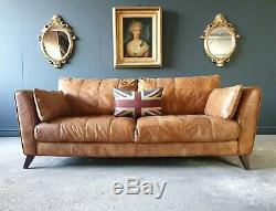 918. Chesterfield Leather Vintage 3 Seater Club Tan Brown Sofa DELIVERY AV