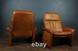 A Pair of De Sede Reclining DS50 in Tan Neck Leather, vintage, Original