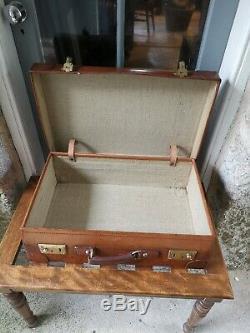 A Pair of Vintage Tan Leather Suitcase by Drews