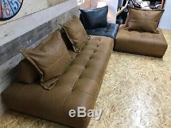 Alexander James maxi 6-8 str tan brown grey leather corner unit modular sofa bed