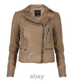 AllSaints Women's Tan Beige HARDY Leather Biker Jacket UK 10