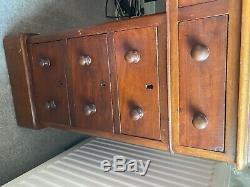 Antique Vintage Victorian Tan Leather Top Twin Pedestal Writing Desk