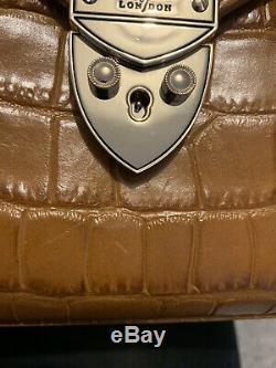 Aspinal of London Ladies Leather The Mayfair Bag in Vintage Tan Croc. RRP £595