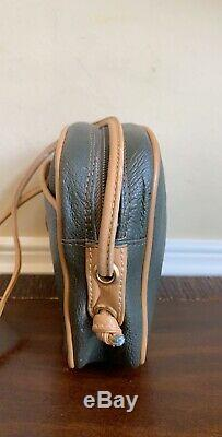 Authentic Gucci Plus Vintage Olive Green Leather Tan Trim Crossbody Bag