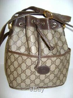 Authentic Gucci Vintage Gg Supreme Bucket Bag Tan /brown Made In Italy
