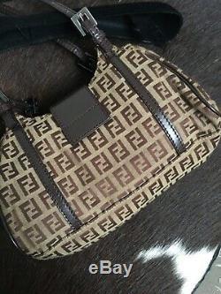 Authentic Tan Fendi Zucca Mini Vintage 2007 Panna Shoulder Bag with Authenticity