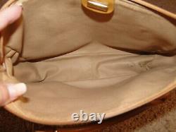 Authentic Vintage 80's Gucci Cream Monogram Tan Leather Satchel Style Handbag