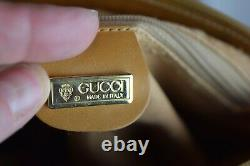 Authentic Vintage 80s Gucci Micro GG Supreme Coated Canvas Crossbody Bag Tan