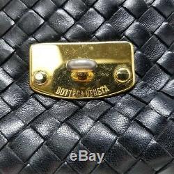 Authentic Vintage Bottega Veneta Woven Intrecciato Black Leather Hand Bag