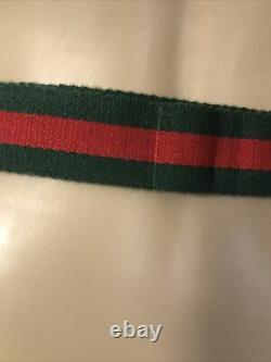 Authentic Vintage Gucci logo tan fanny belt bag red and green strap