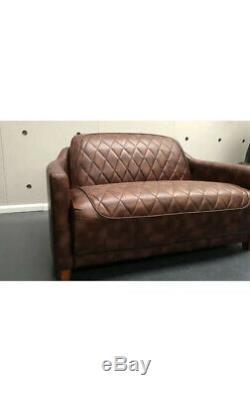 Aviator 2 Seater Sofa Timothy Oulton style Vintage Tan Brown