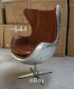 Aviator Aviation Aluminium Swivel Egg Chair Vintage Tan Leather Arne Jacobsen