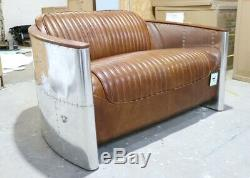 Aviator Aviation Pilot 2 Seater Sofa Home Industrial Vintage Tan Leather